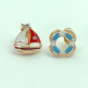 NEW blue life float and red boat fashion earrings